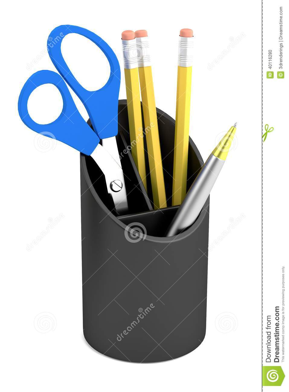 3d Render Of Stationery Tool Cup Stock Illustration