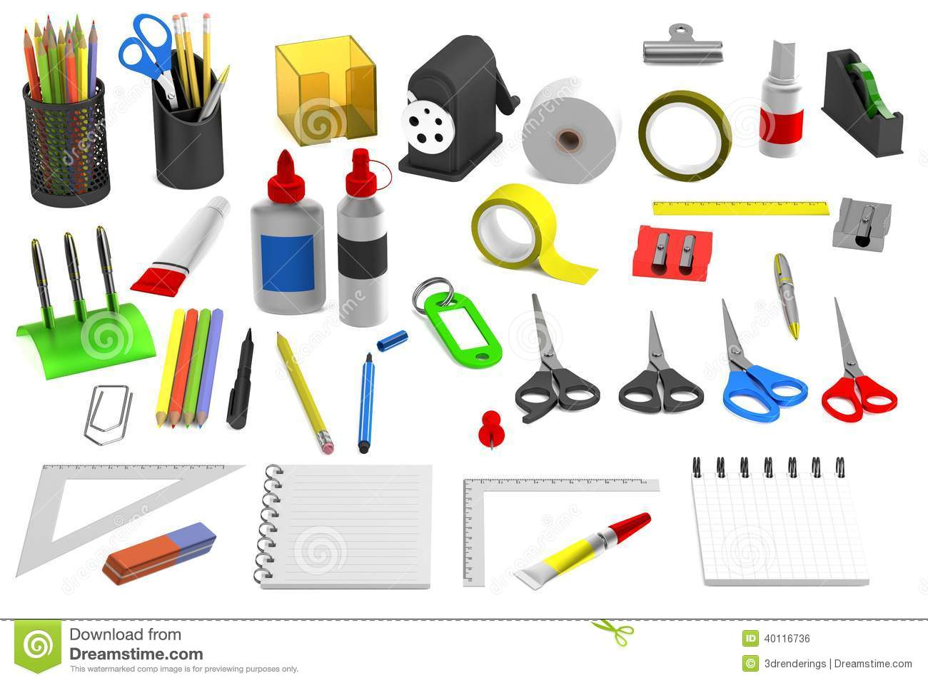 3d Render Of Stationery Tools Stock Illustration Image