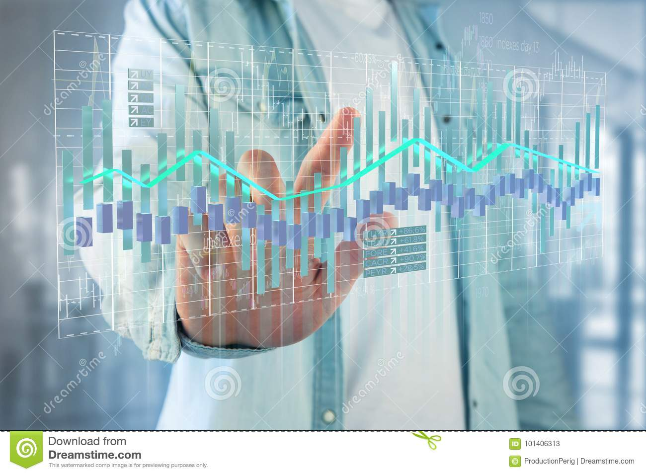 3d render Stock exchange trading data information display on a
