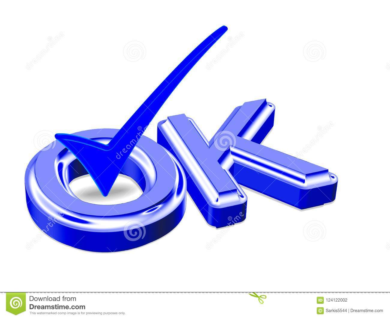 D Render Tick Icon Ok Check Mark Symbol Illustration Stock Photo