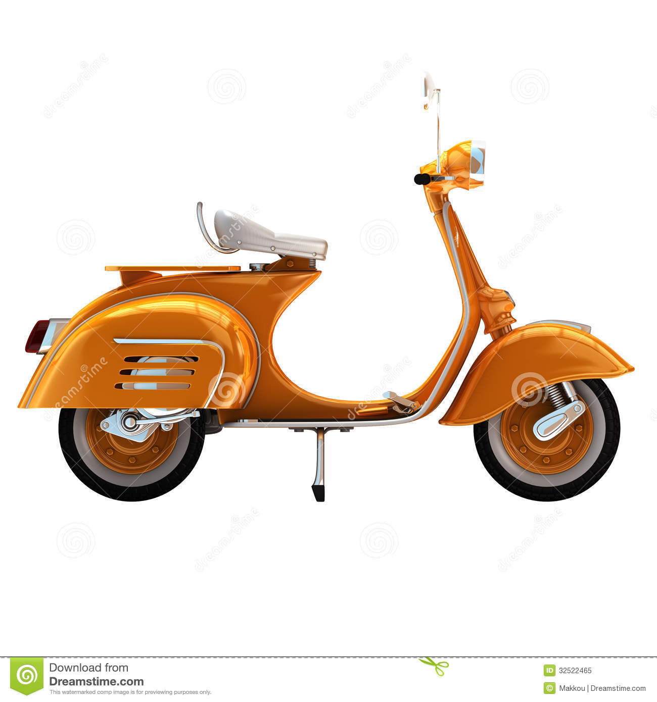 3d Render Vintage Scooter Royalty Free Stock Photo Image