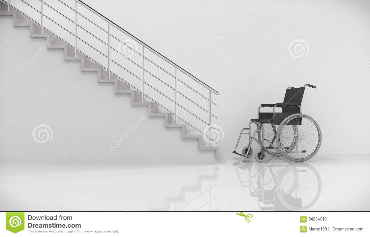 chair for stairs. 3d Render - Wheel Chair And Stairs. Accessibility, Accident. For Stairs