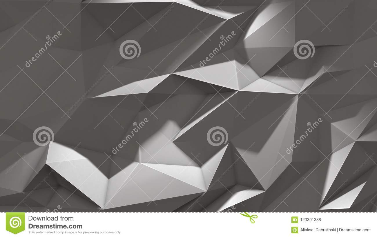 3d Render White Abstract Low Poly Triangle Background With ...