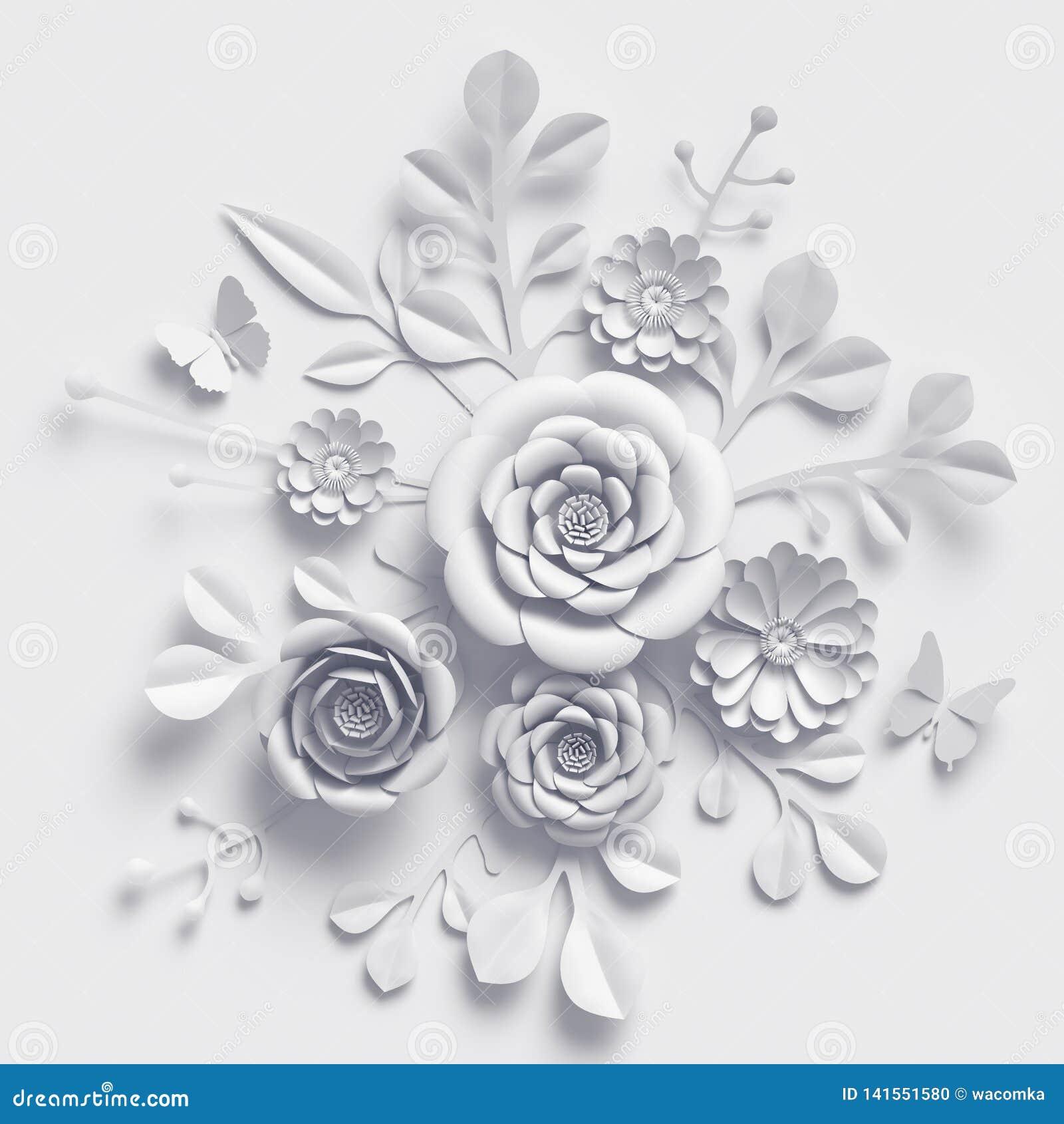 3d render, white wedding paper flowers, floral bouquet, botanical background, paper craft