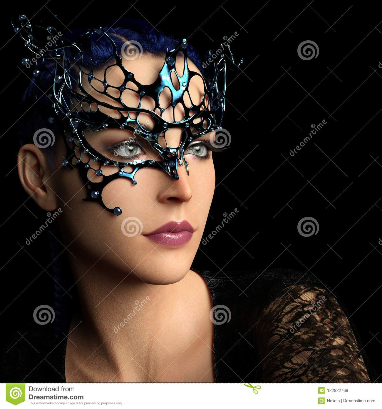 Woman with fantasy mask