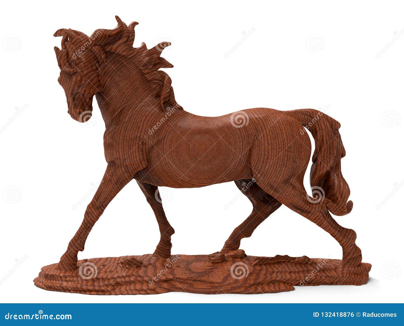 3d Render Wooden Horse Sculpture Stock Illustration Illustration Of Arabian Isolated 132418876