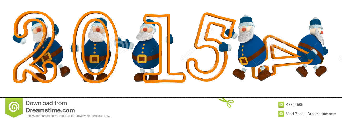 3D render with year 2015 with digits held by cartoony old men dressed in blue