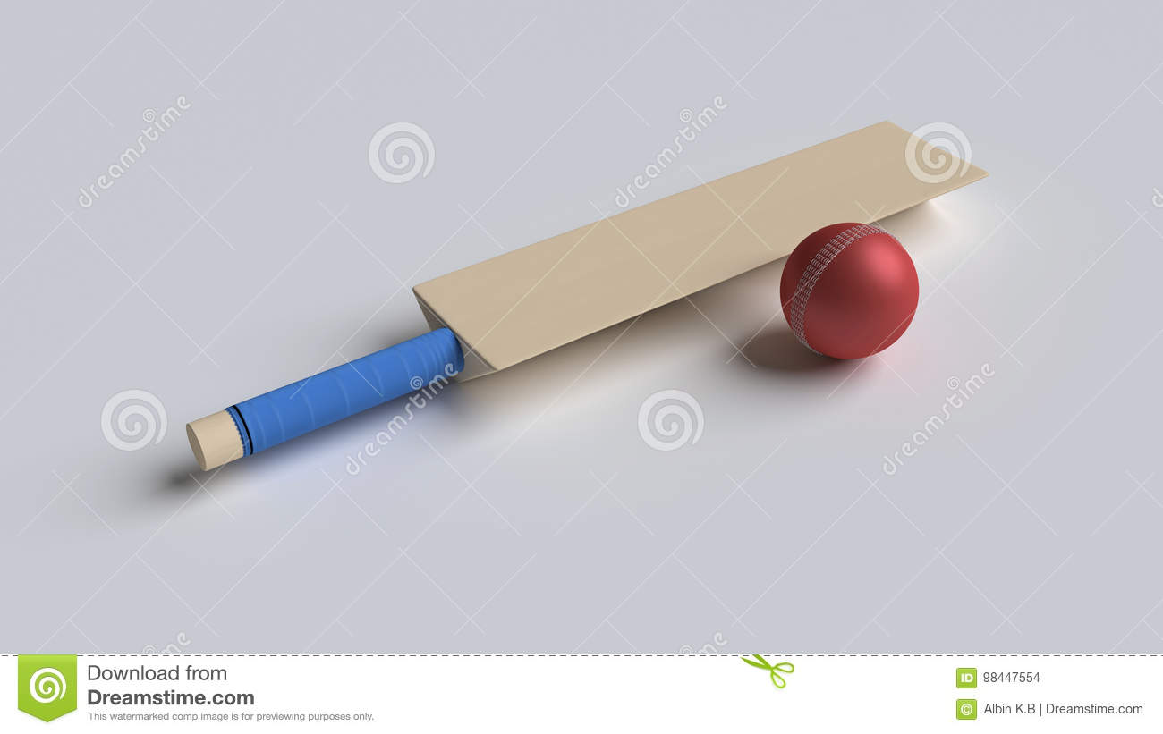 3d rendered bat and ball