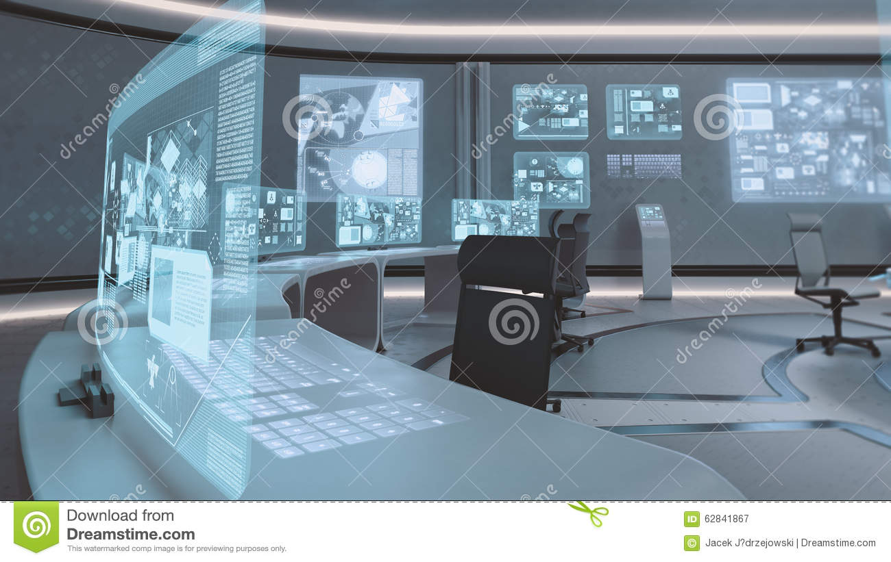 3d Rendered Empty Modern Futuristic Command Center