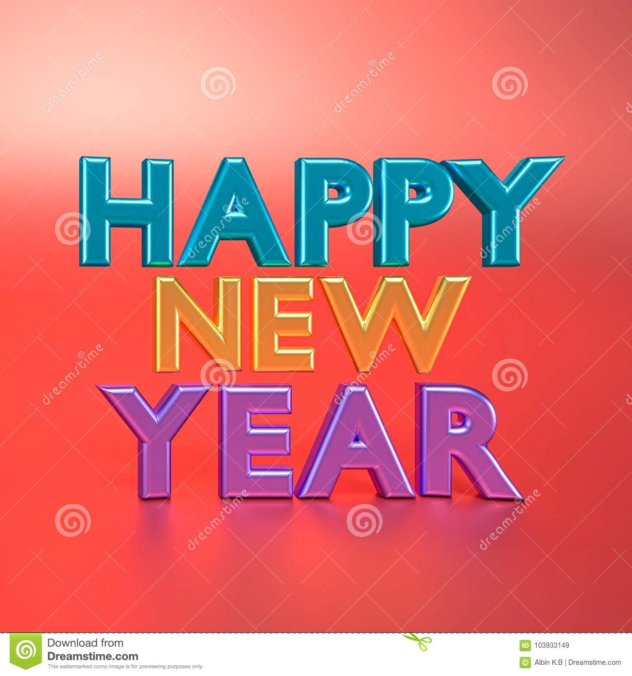 3d Rendered Happy New Year Text Stock Illustration Illustration Of