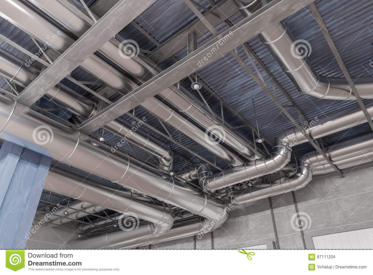 3d Rendered Illustration Of Hvac System And Pipes Stock