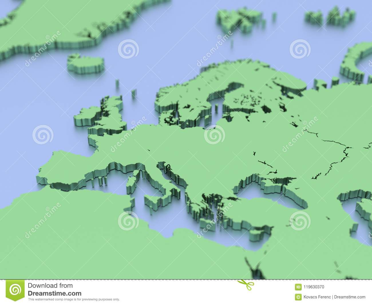 A 3d Rendered Map Of Europe Stock Illustration Illustration Of