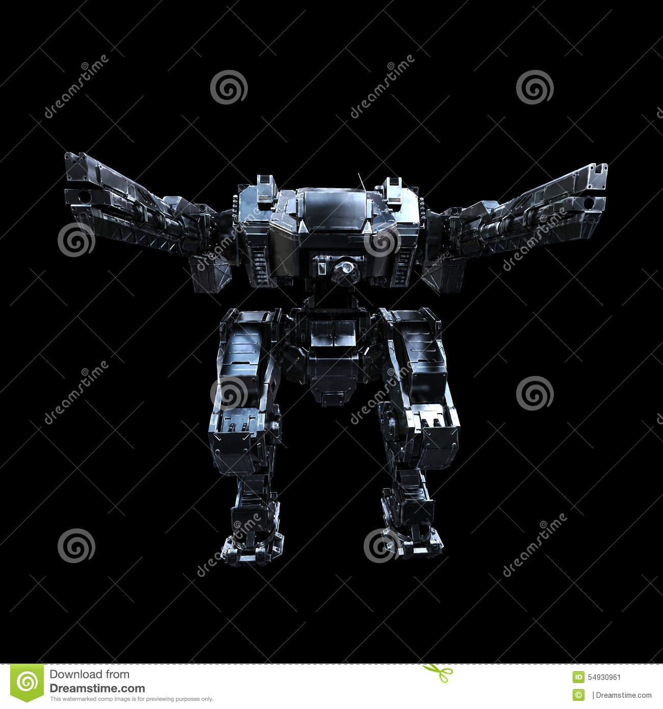 3d Rendered Mech Isolated Background Stock Illustration