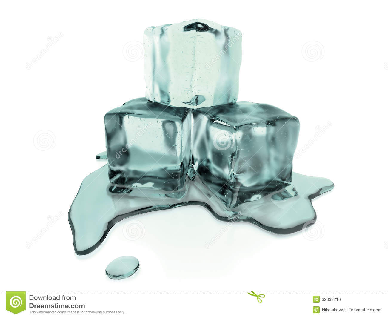 3d Rendered Melting Ice Cubes With Clipping Path Stock ...