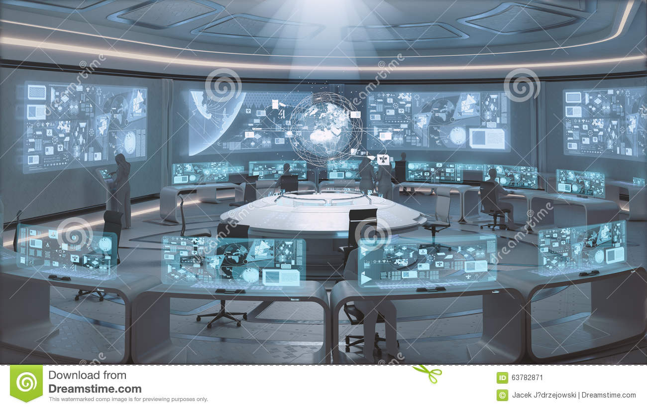 3d Rendered Modern Futuristic Command Center Interior