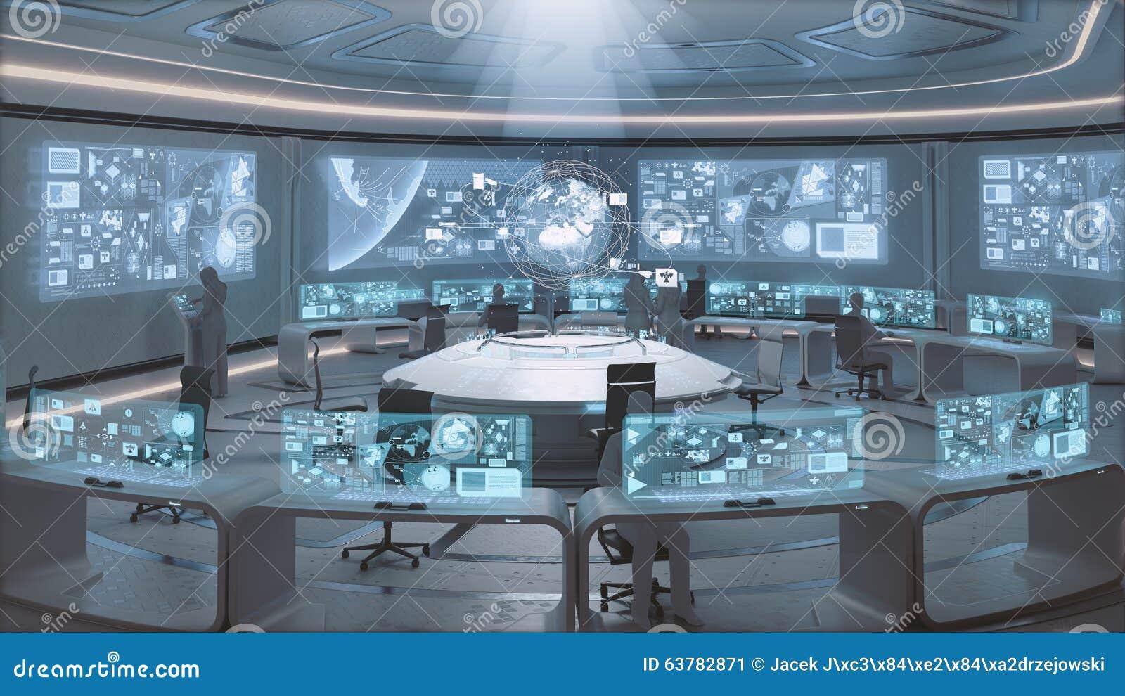 3d rendered modern futuristic command center interior for Futuristic control room
