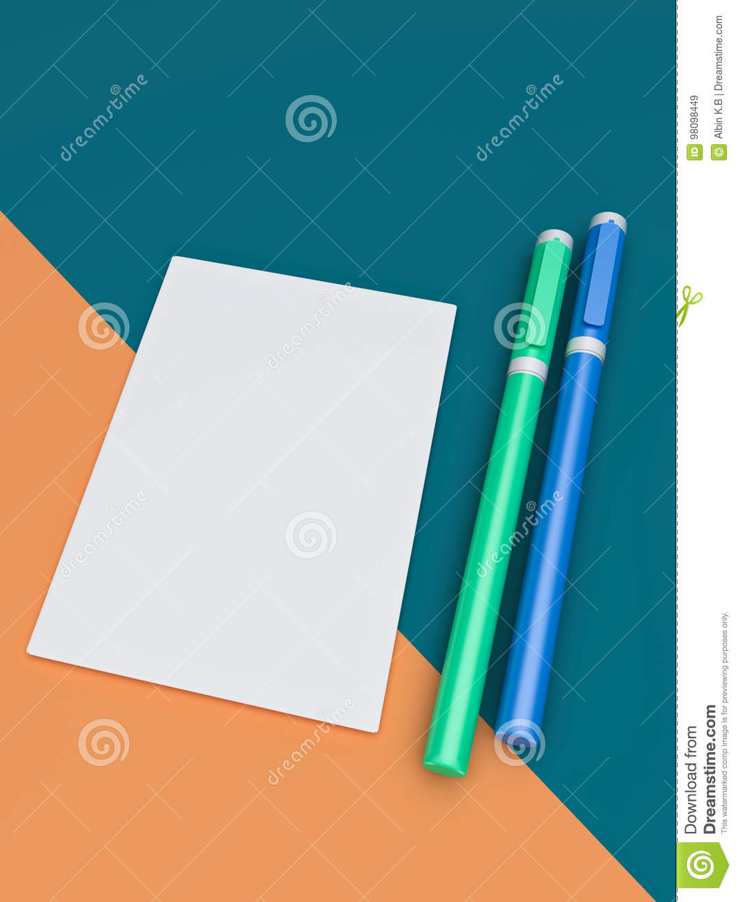 3d rendered paper and pens