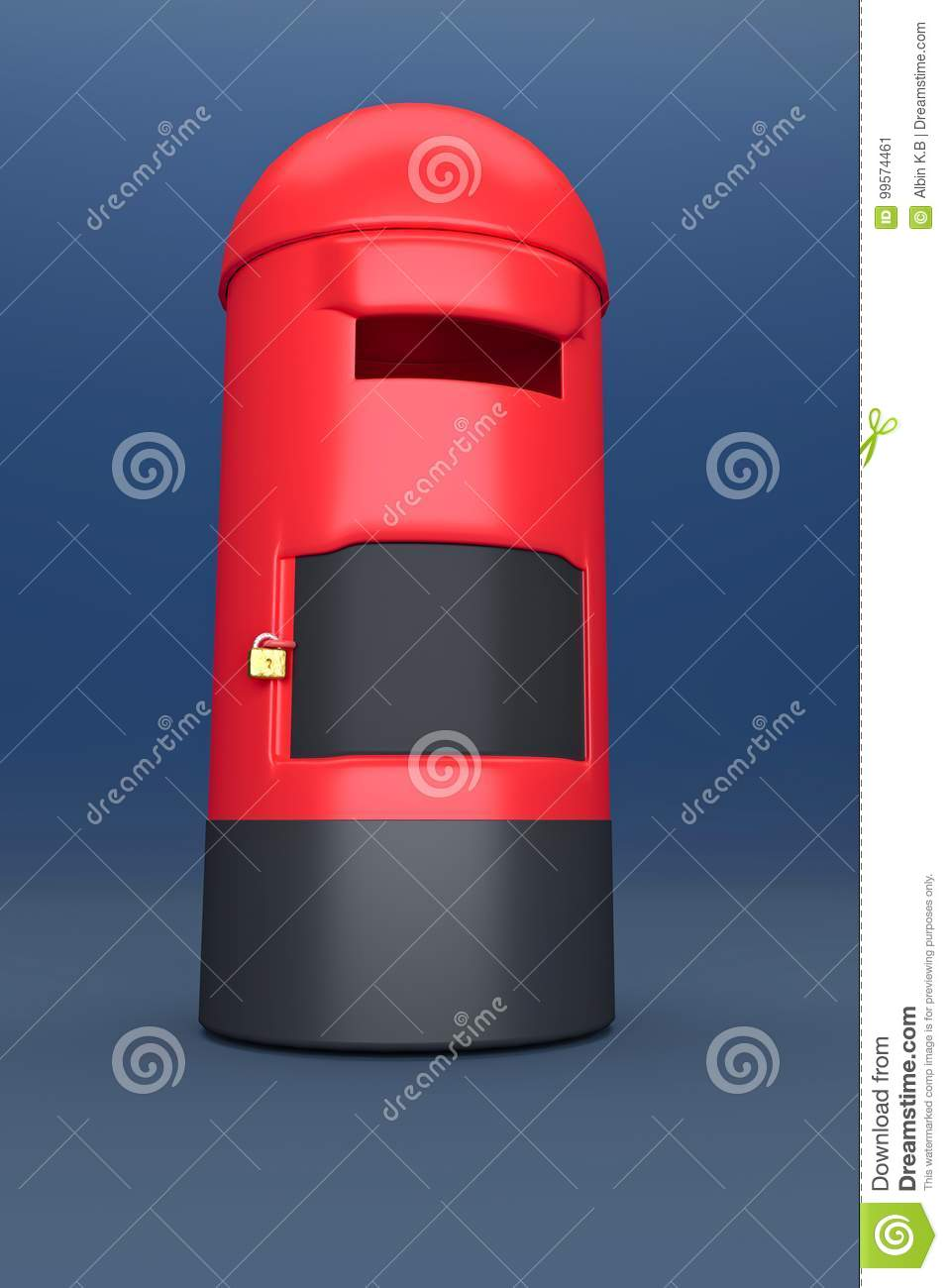 3d rendered postbox