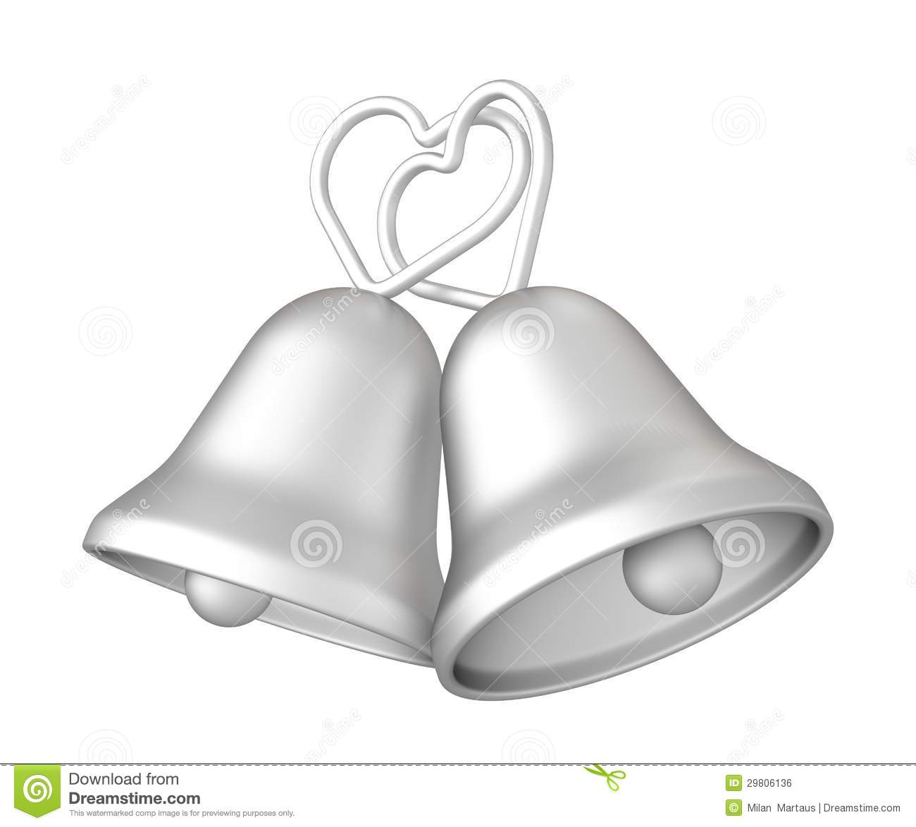 3d Silver Wedding Bells Stock Illustration Illustration Of
