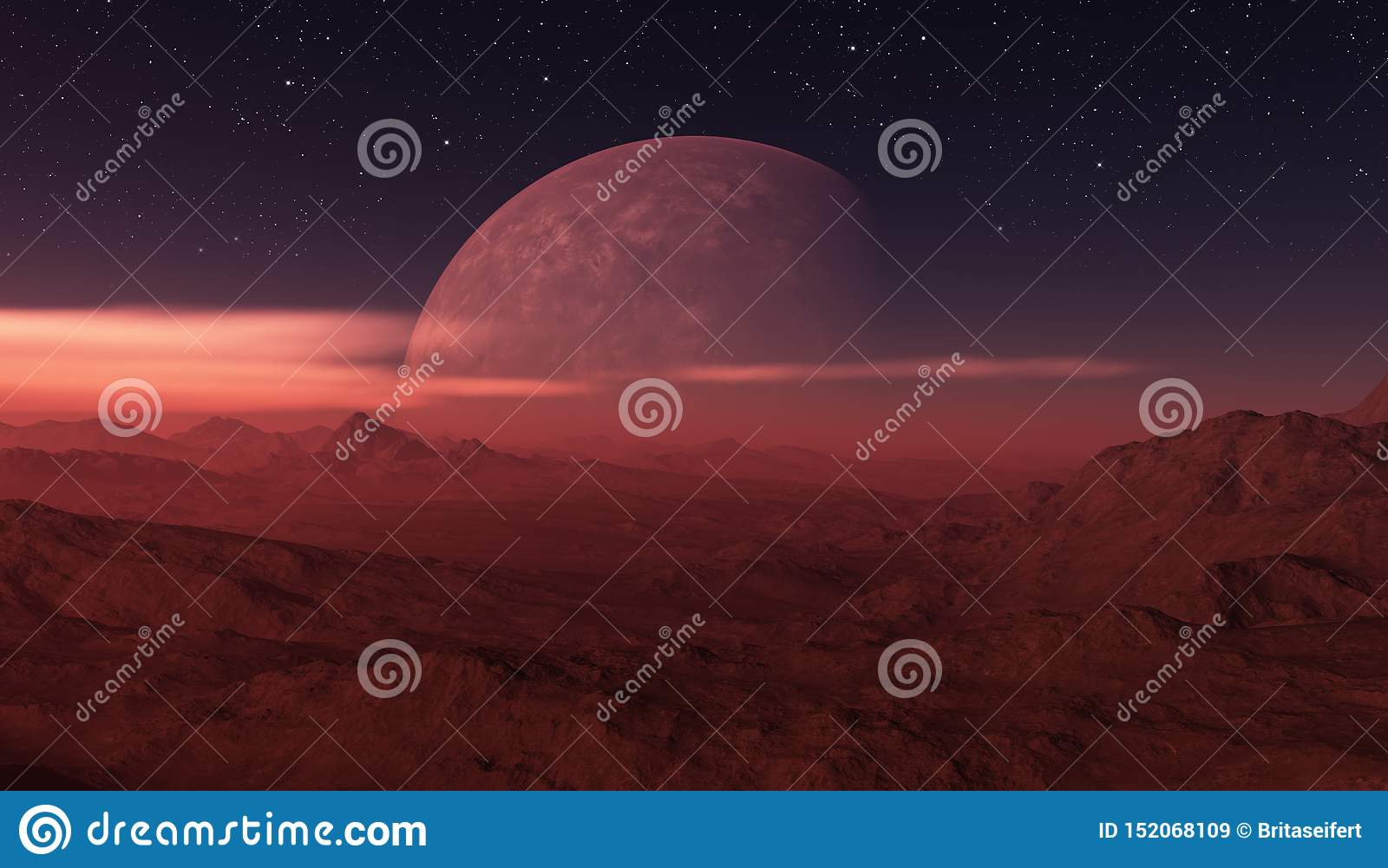 3d Rendered Space Art Alien Planet A Fantasy Landscape With Dark Skies And Clouds Stock Illustration Illustration Of Astrology Fiction 152068109