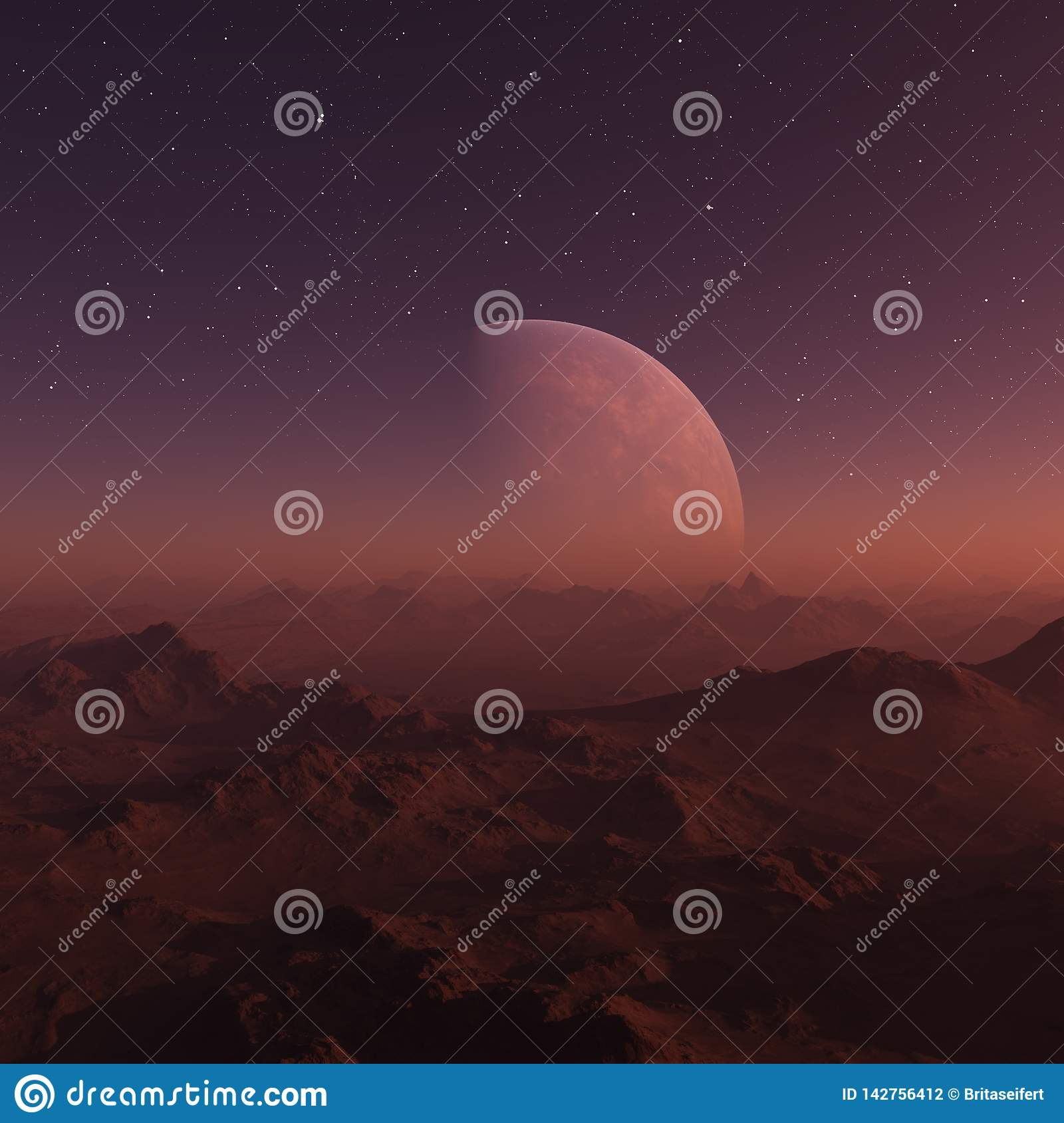 3d Rendered Space Art Alien Planet A Fantasy Landscape With Red Skies And Stars Stock Illustration Illustration Of Away Design 142756412