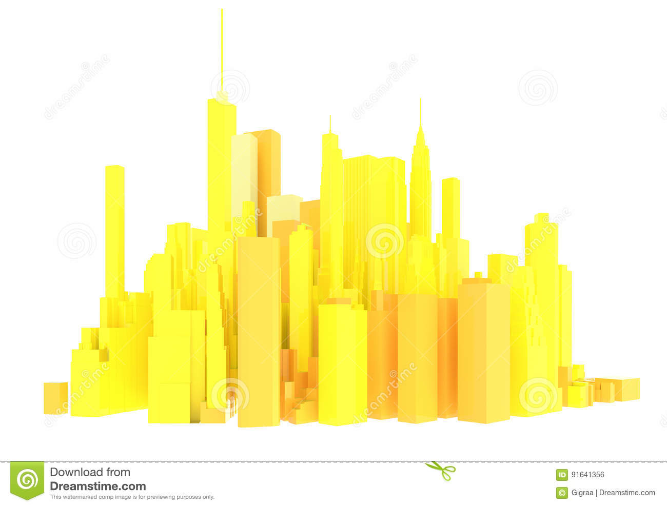 3d rendered yellow skyline isolated