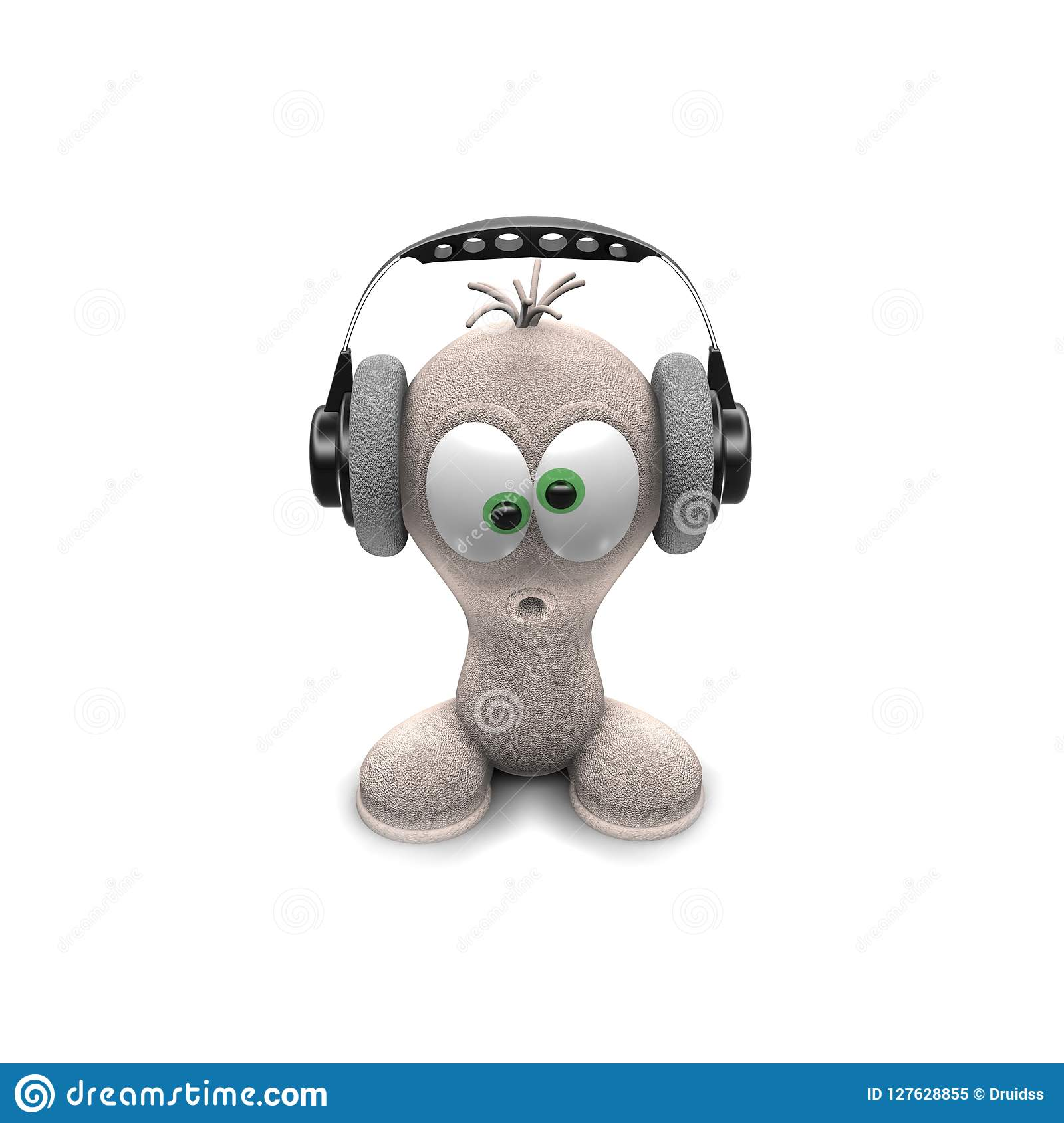 Man With Headphones Little Funny Man Character 3d Render