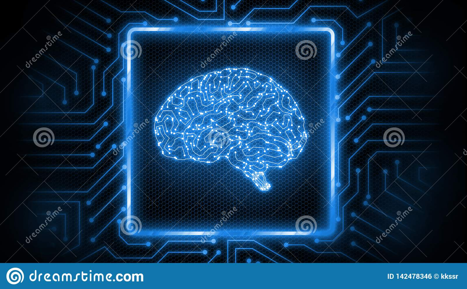 3D Rendering of abstract blue glowing circuit board background with brain logo at center. Perfect for Artificial Intelligence