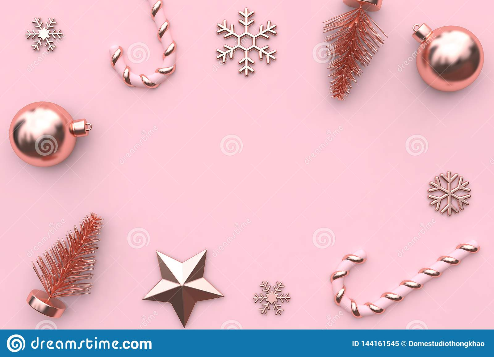 3d rendering abstract christmas background pink metallic glossy-rose gold