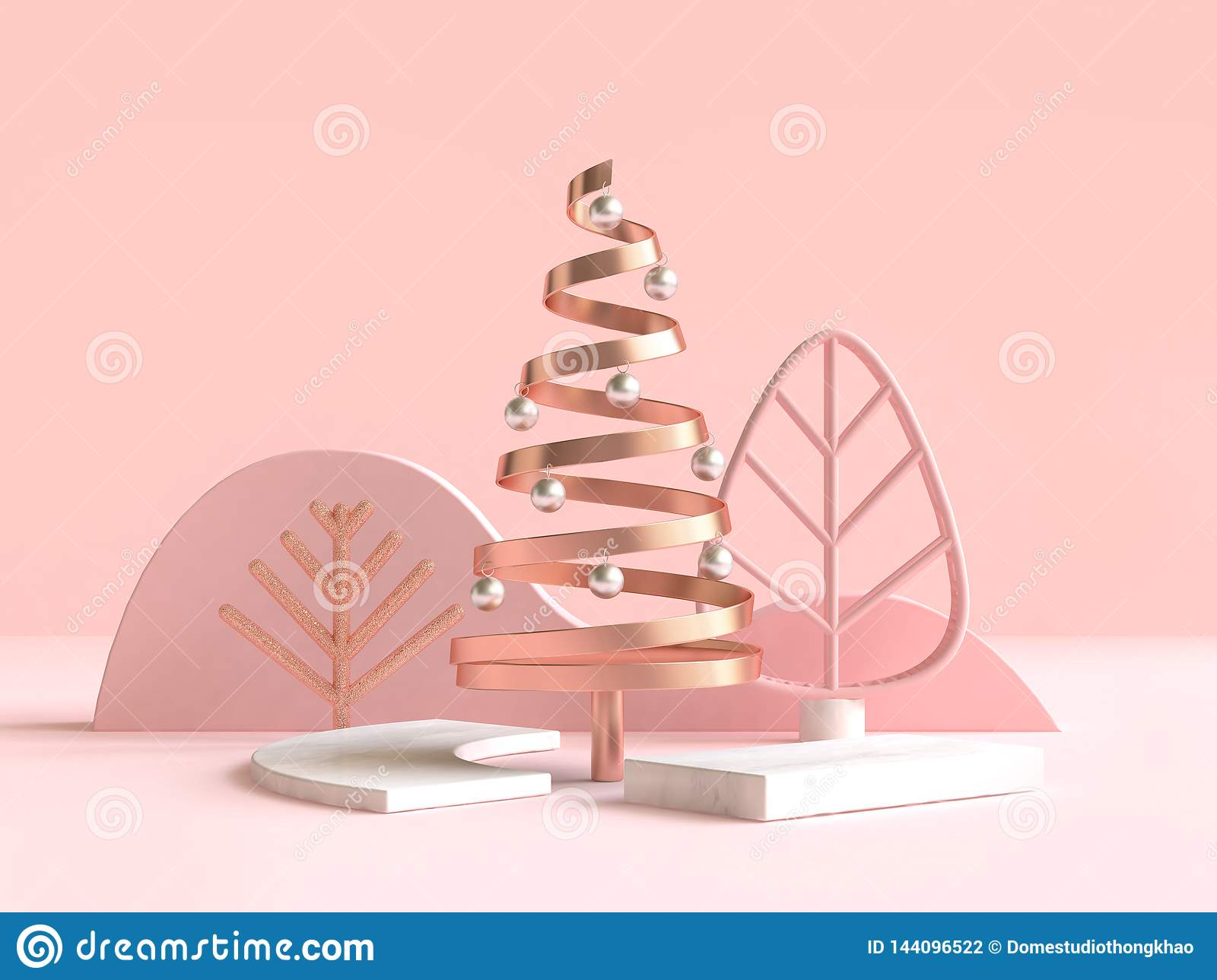 3d rendering abstract geometric shape christmas tree scene concept decoration