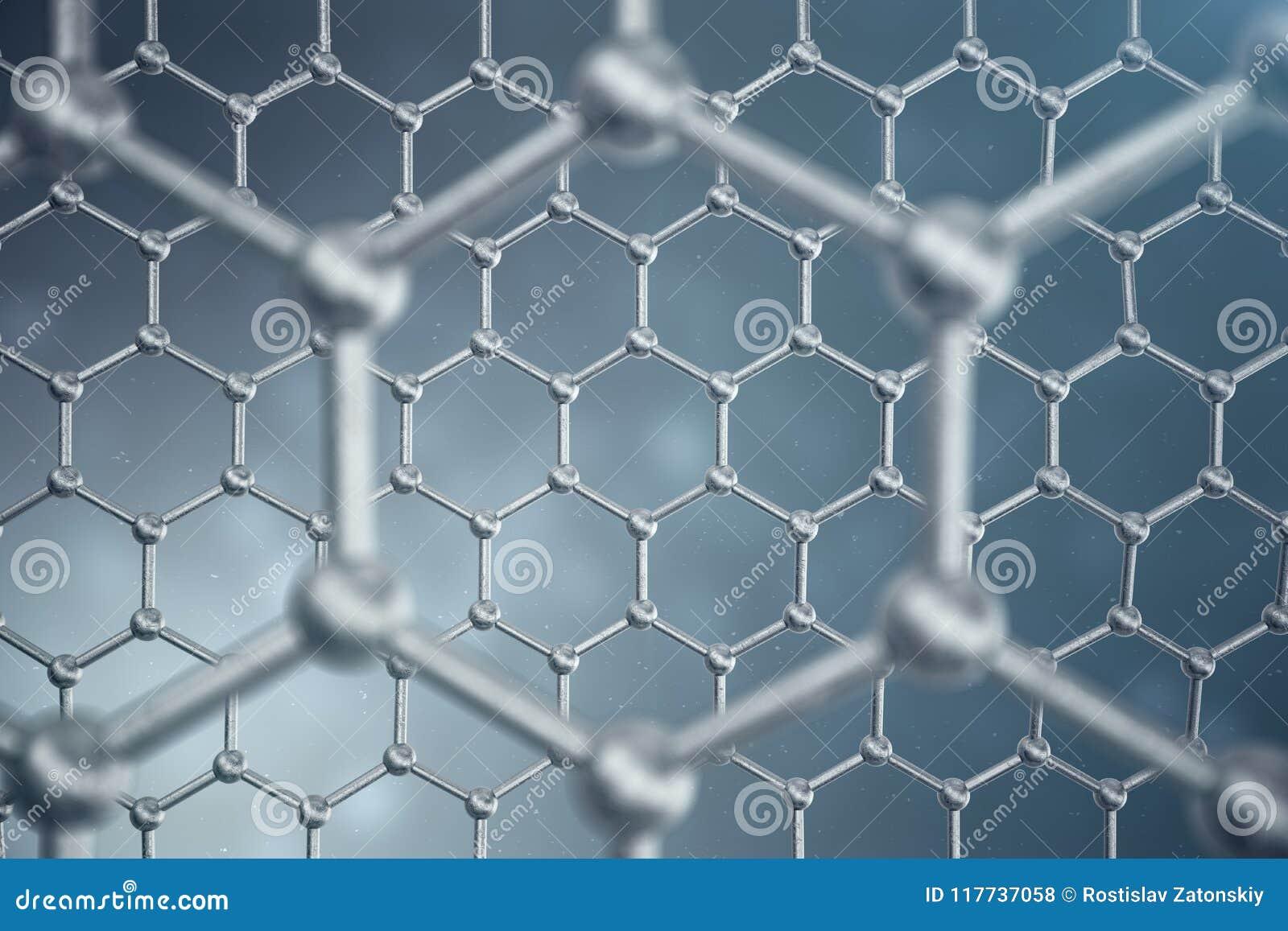 3d Rendering Abstract Nanotechnology Hexagonal Geometric Form Close ...