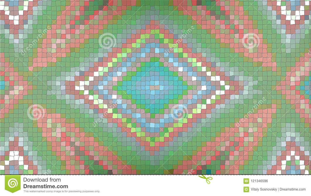 3d Rendering Of An Abstract Picture From A Mosaic. Bright ...