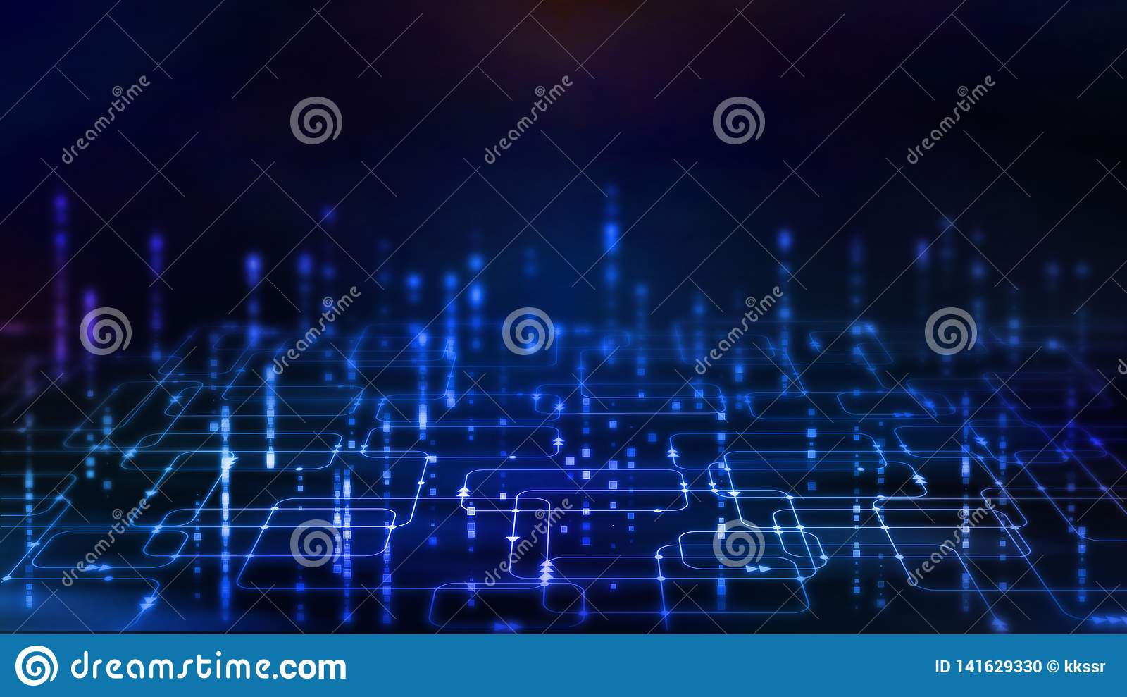 3D Rendering Of Abstract Technology Background  Glowing Computer