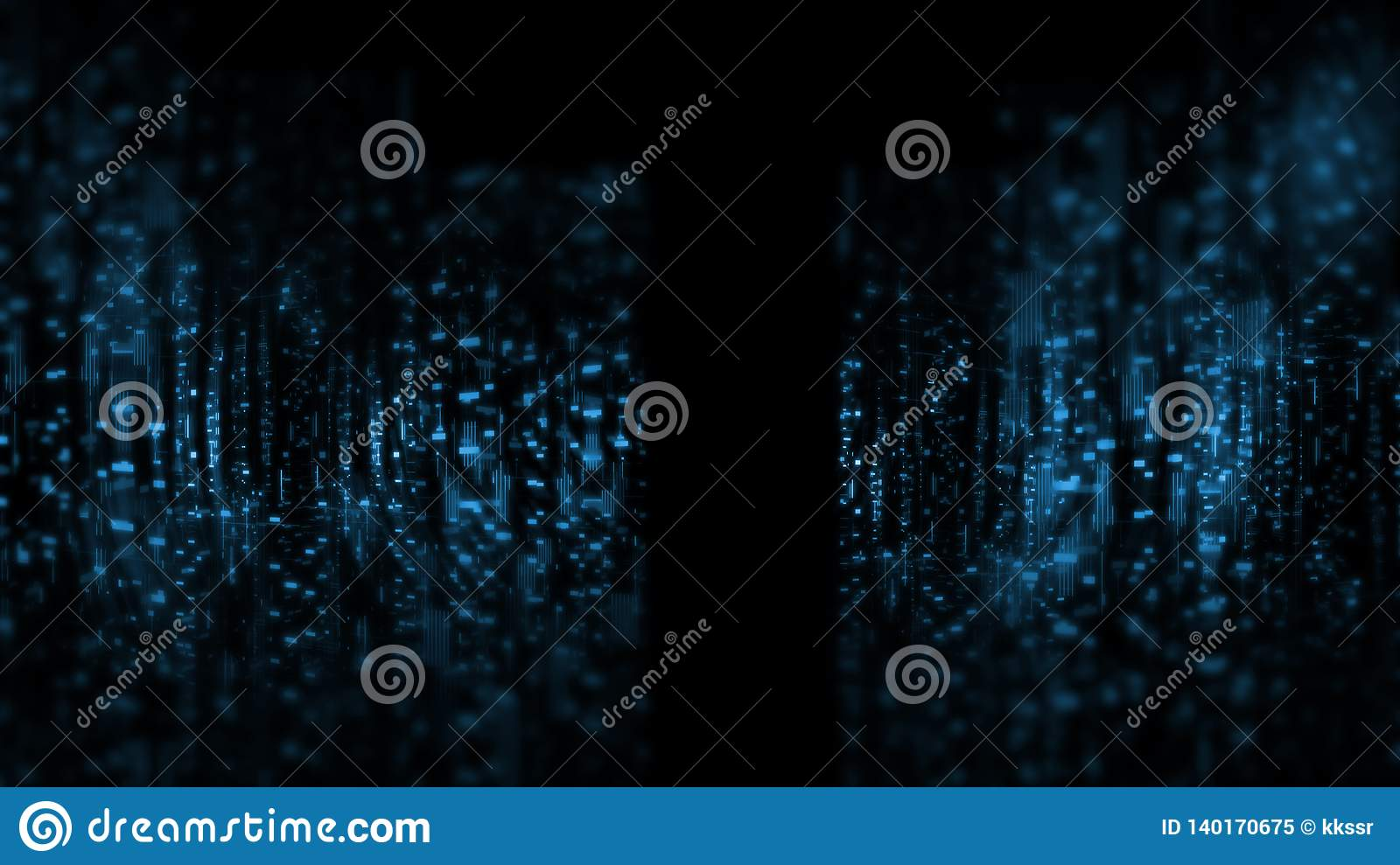 Wide screen wallpaper. Computer circuit dots and blur binary data. For deep machine learning, crypto currency, artificial intelligence product uses.