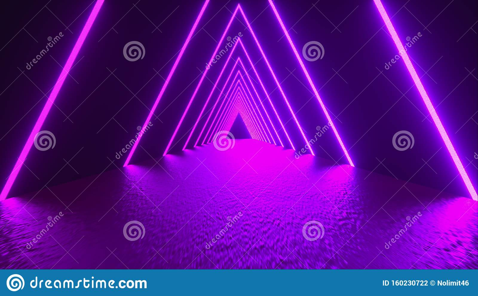 3D-rendering, abstracte achtergrond, virtuele realiteit, computer gegenereerde fluorescerende ultraviolet licht, gloeiende neonli