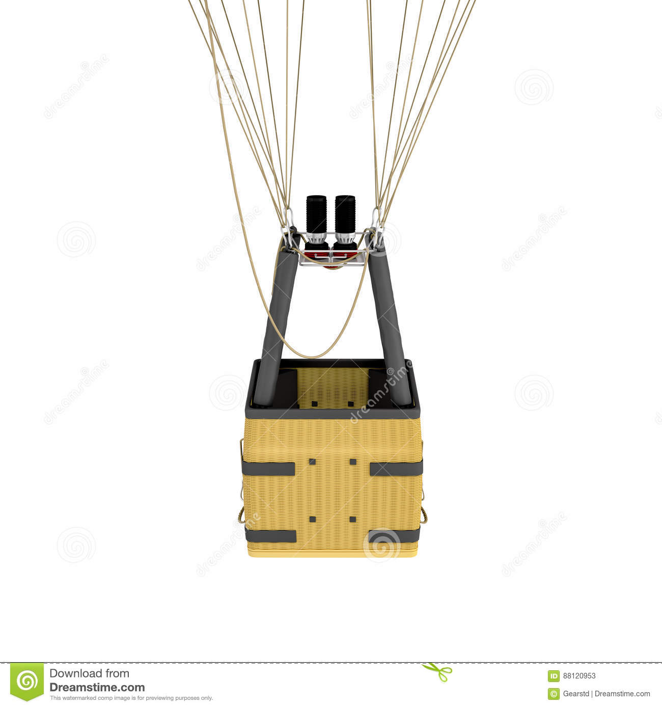 3d Rendering Of An Air Balloon Basket With Gas Burners ...