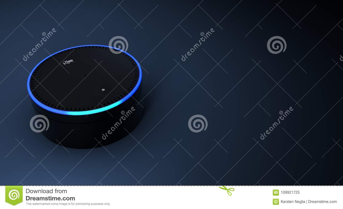3d rendering of Amazon Echo voice recognition system