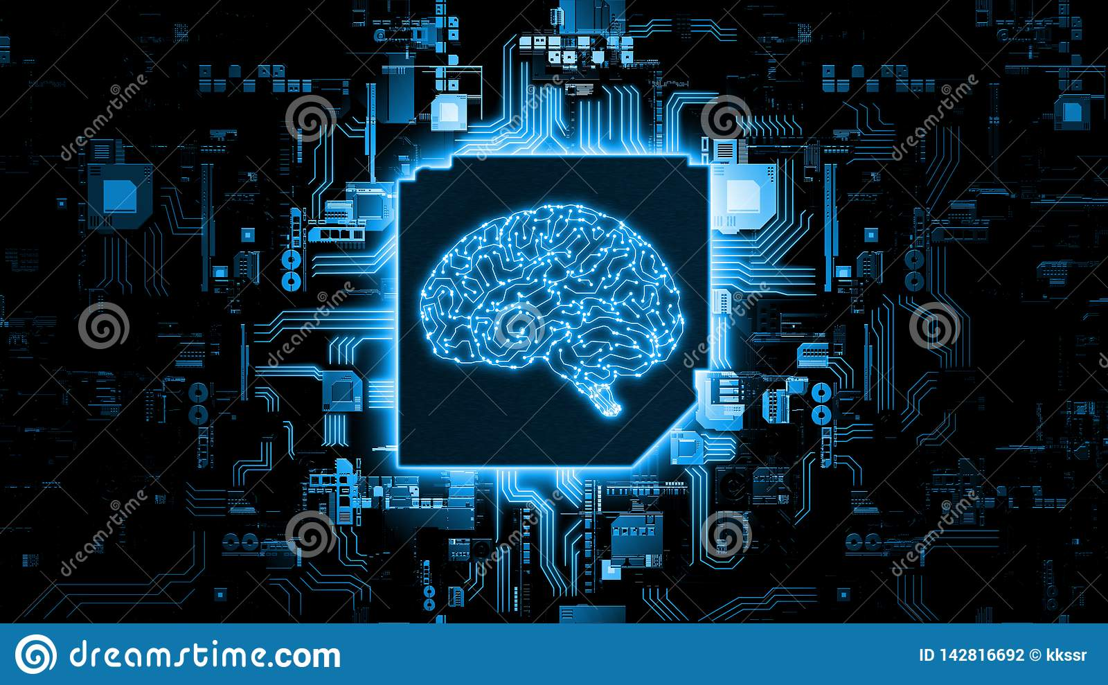 3D Rendering of artificial Intelligence hardware concept. Glowing blue brain circuit on microchip on computer motherboard.