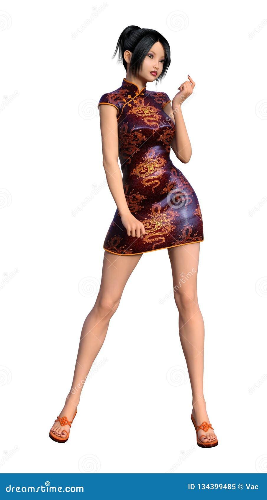 3D Asian Girl 3d rendering asian girl on white stock illustration