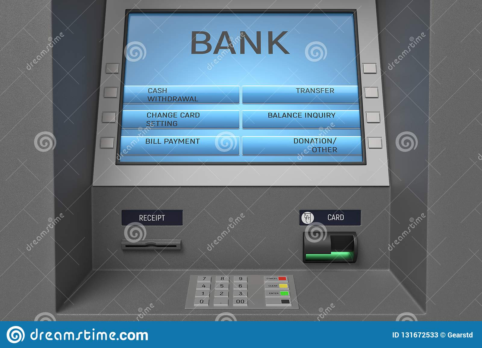 3d Rendering Of An ATM Machine With Its Screen And Button Panel In A