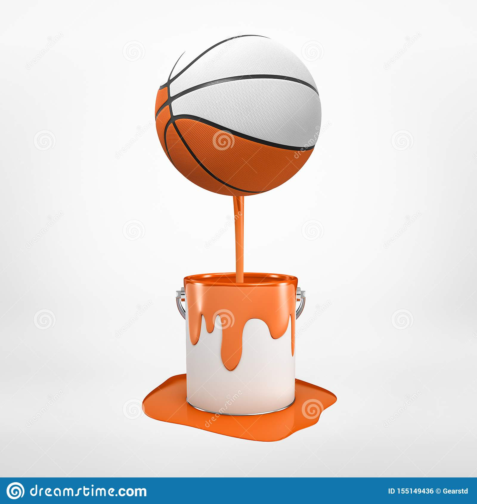3d rendering barwiąca koszykówka farby obcieknięcia puszek która zamacza w pomarańczowej farbie i jest spławowa w powietrzu,