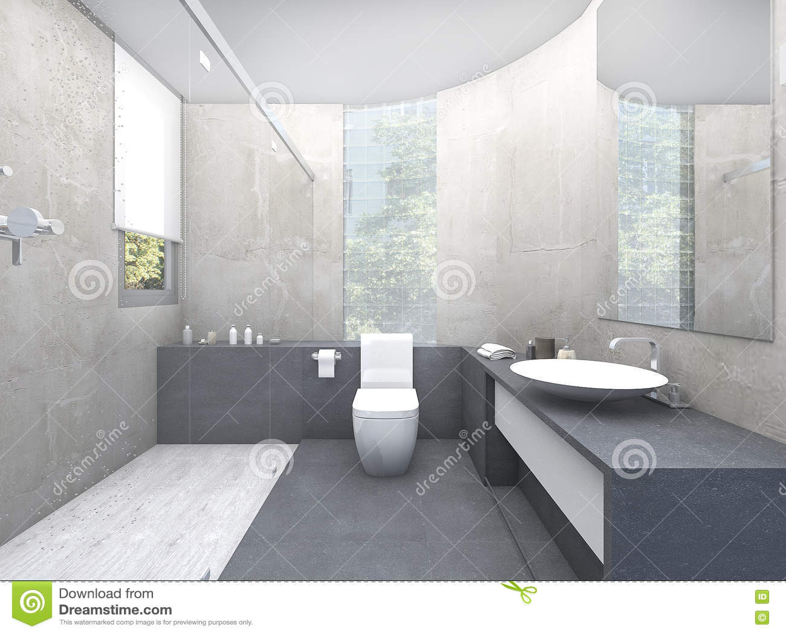 3d Rendering Beautiful Design Restroom With Glass Block Stock ...
