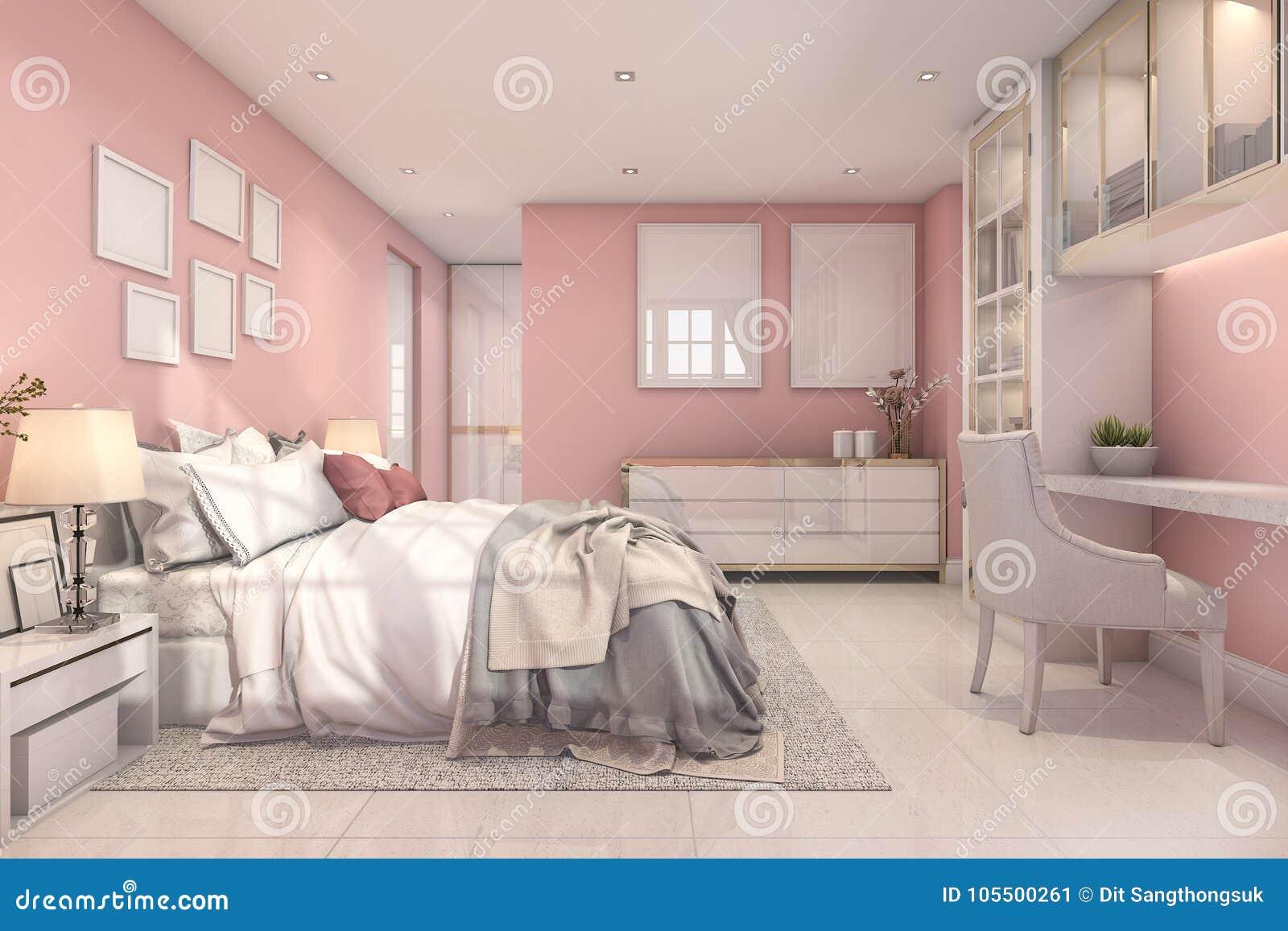 3d Rendering Beautiful Pink Vintage Kid Bedroom Stock Illustration ...