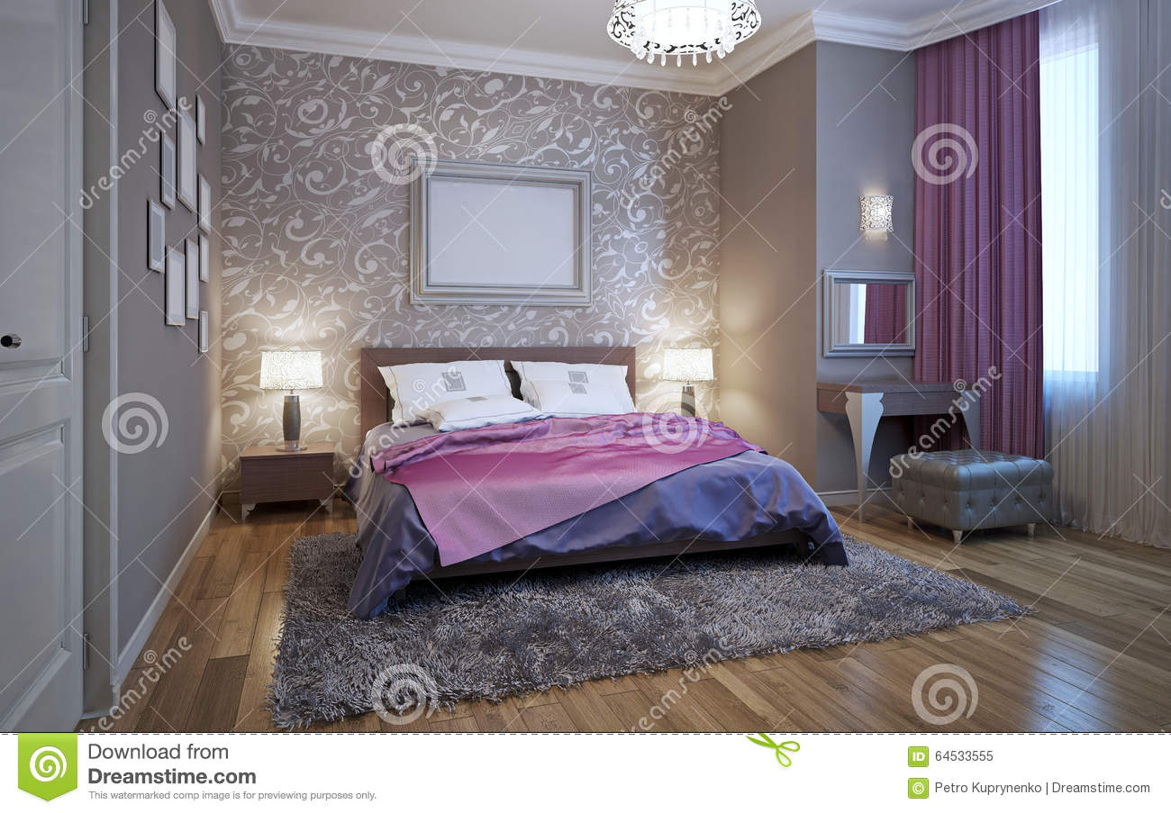 3d rendering bedroom in gray and white tones stock photo for White bedding with purple accents