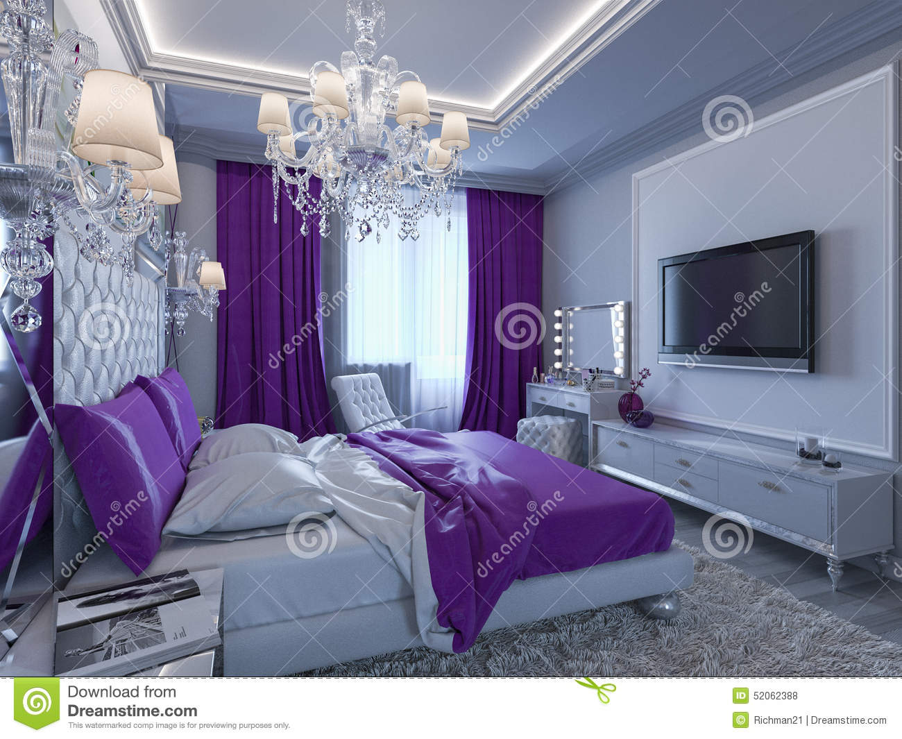 3d rendering bedroom in gray and white tones with purple 12961 | d rendering bedroom gray white tones purple accents accent 52062388
