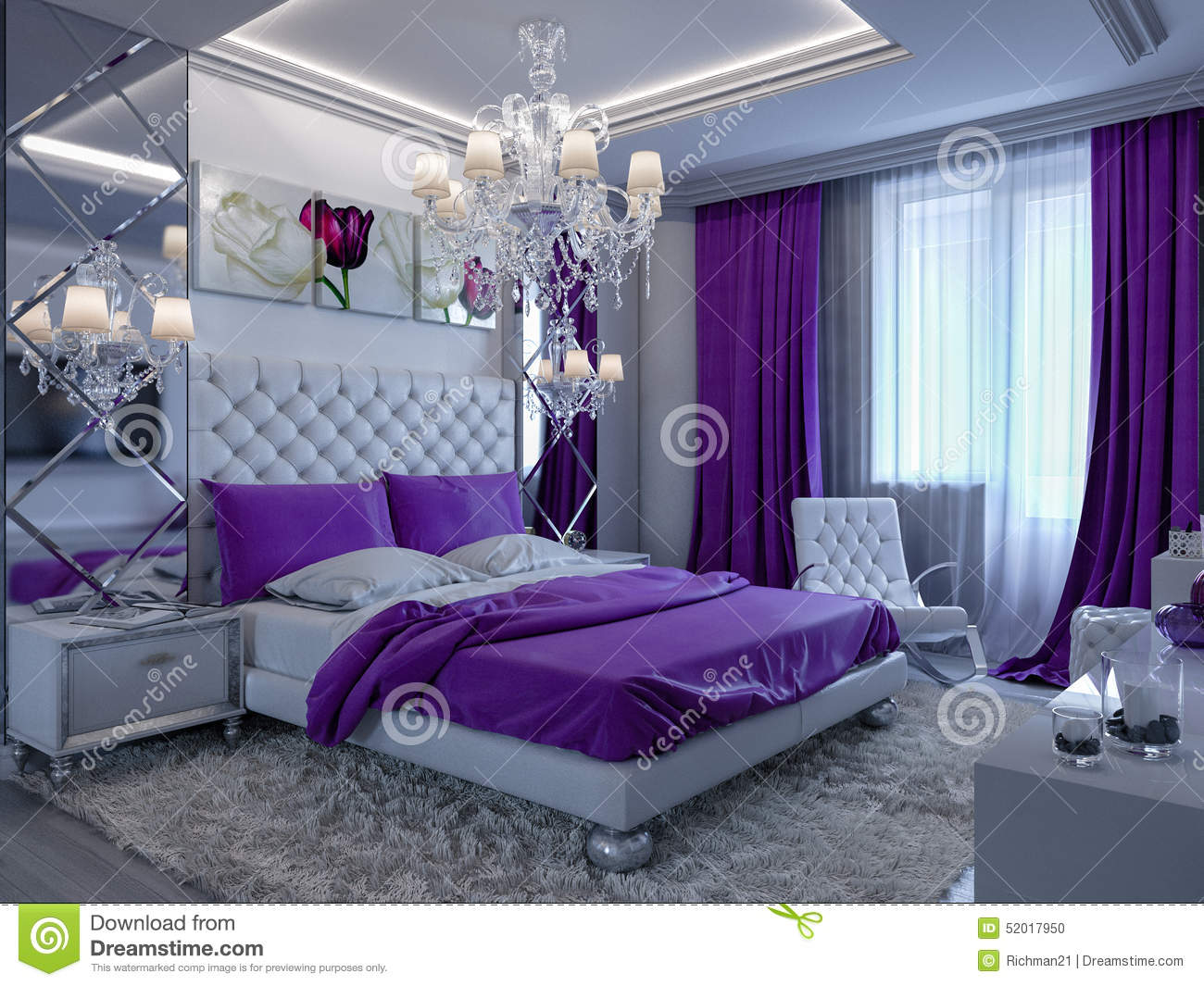3d Rendering Bedroom In Gray And White Tones With Purple Accents Stock Illust