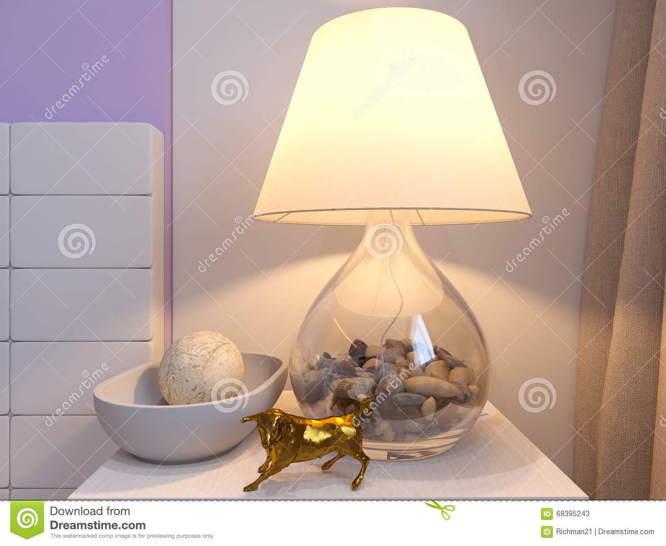 3d Rendering Of Bedroom Interior Design In A Modern Style. Stock ...