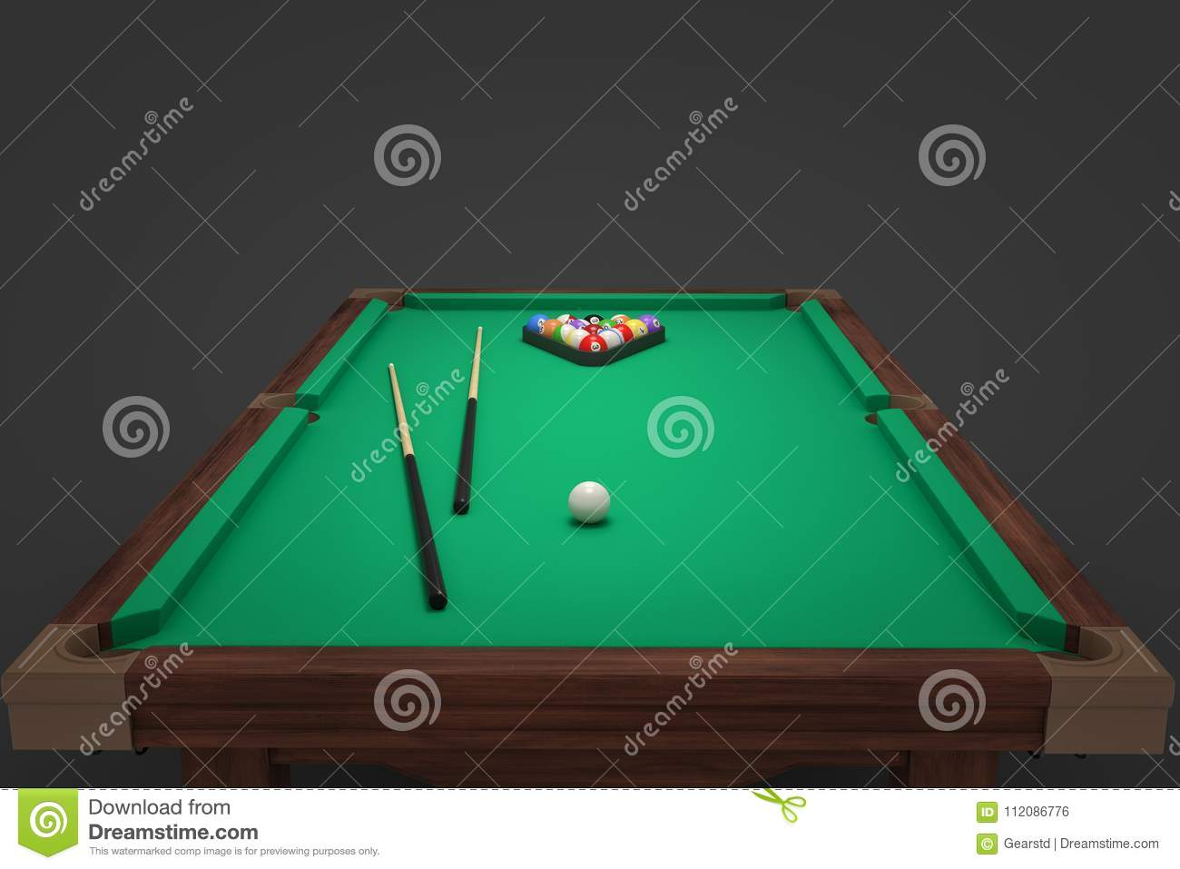 D Rendering Of A Billiards Table With Two Cue Sticks And A Rack - How to rack a pool table