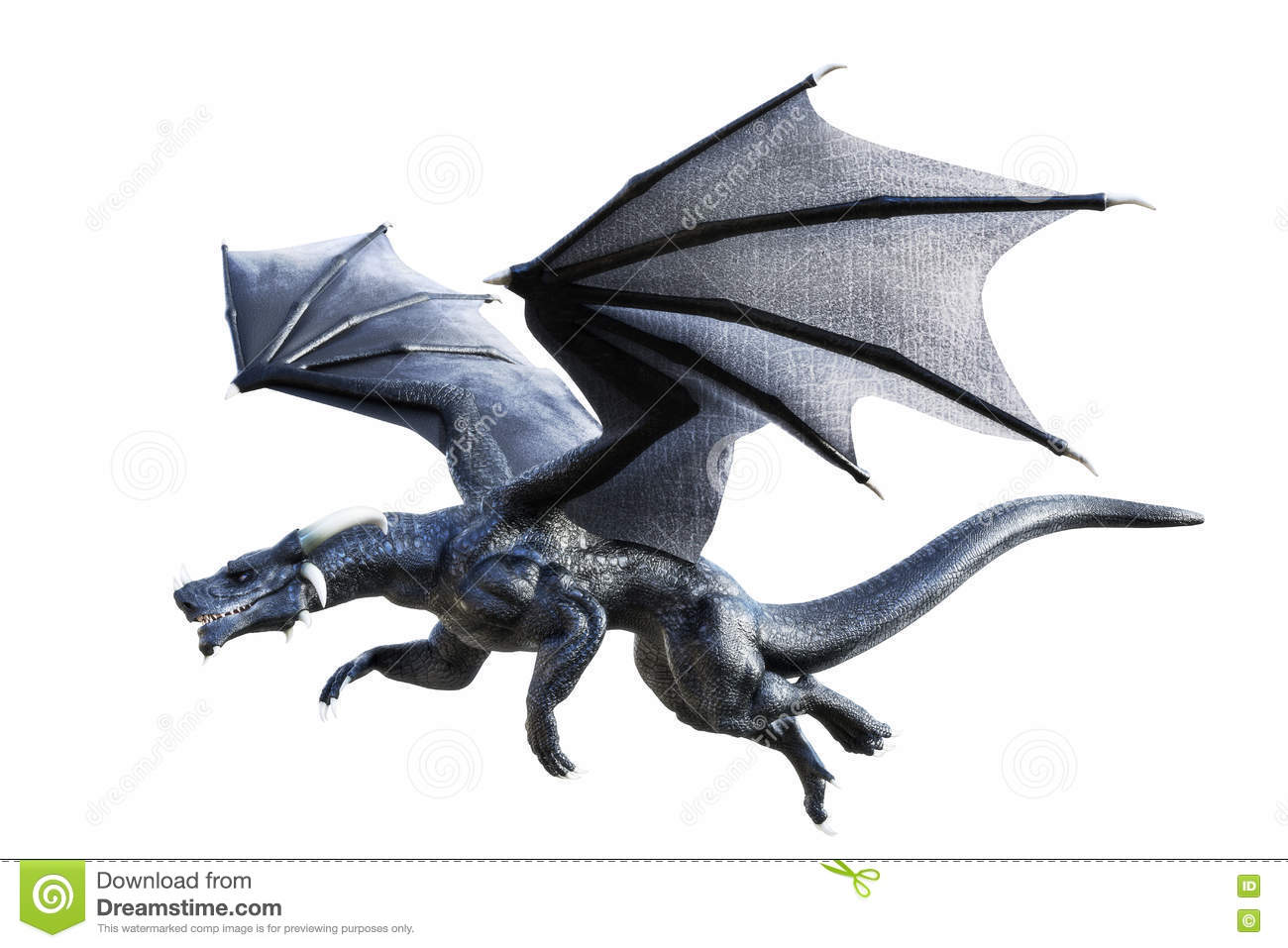 3d rendering of a black fantasy dragon flying isolated on