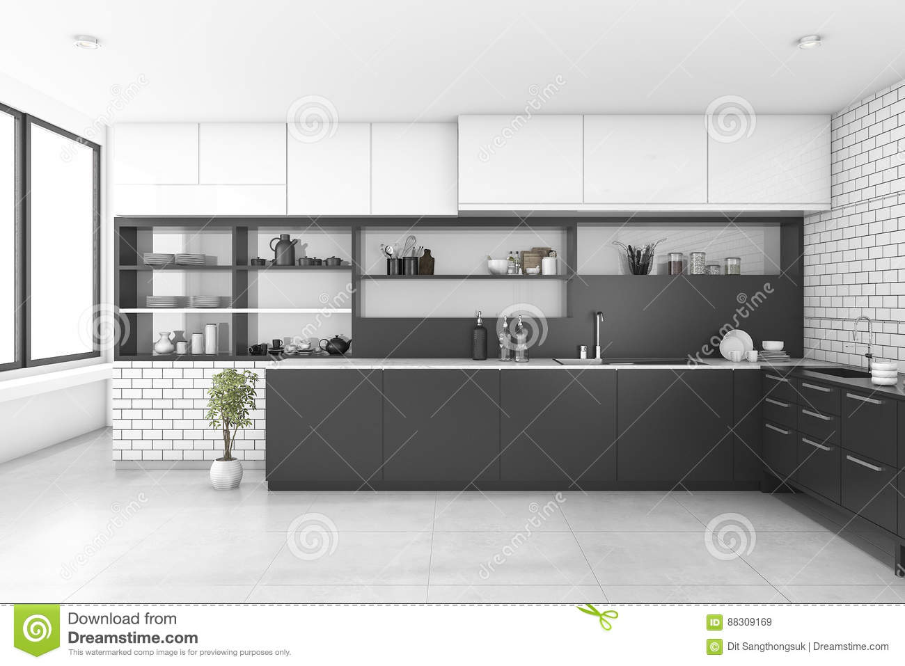 3d Rendering Black Kitchen With Brick Wall Stock Illustration